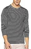 #8: Devil Men's Black and White Stripe Full Sleeves Round Neck T-Shirt