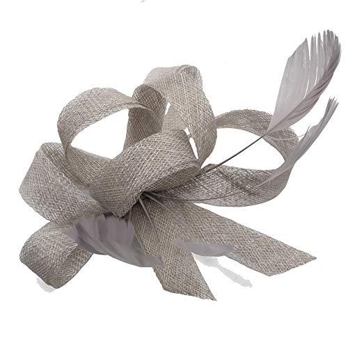 Wxelaniog-flower Elegante Leinen Lady Hut Feder Styling Braut Hut Hochzeitsbankett Hanf Tiara mit Clip und Haarband für Frauen (Farbe : Grau)