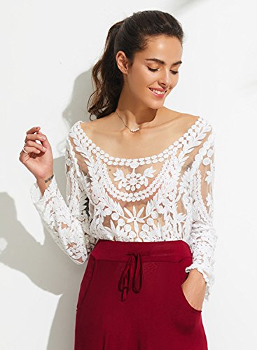 Azbro Floral Crocheted Mesh Blouse Cream