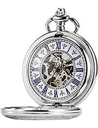 Tree Weto Taschenuhr Taschenuhren Retro Watch Engraved Roman Numerals with Chain Men's Silver Case Mechanical Pocket Watch