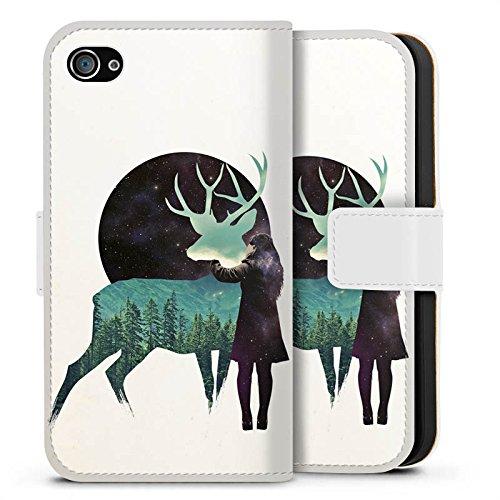 Apple iPhone X Silikon Hülle Case Schutzhülle Hirsch Mädchen Mond Sideflip Tasche weiß