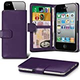 ( Dark Purple ) case for Argos Alba 5 Inch case cover pouch High Quality Thin Faux Leather Holdit Spring Clamp Clip on Adjustable Wallet case cover Skin With Credit/Debit Argos Alba 5 Inch case by i-Tronixs