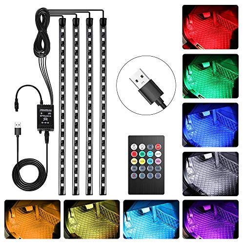 bedee Led Auto Interni Kit,Striscia Led Neon Auto Interni,RGB SMD 72 LED Luci con Telecomando Senza Fili - USB Porta - Set di 4 x 18