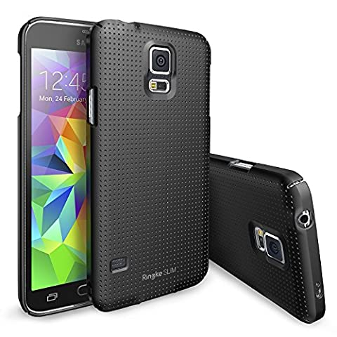[Gratis HD Film-Better Grip] Ringke SLIM® Galaxy S5 Coque [DOT-BLACK] Modern Glam Dotted Pattern Design with Full Top and Bottom Coverage for an All Around Protection Premium Hard Case Cover Coque Étui Housse de Protection Protecteur Étui pour Samsung Galaxy S5 / Galaxy SV / Galaxy S V (2014) [ECO