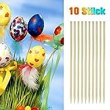 100 Deko-Eier Ostern [6 cm, Kunststoff] + 100 Aufhänger für Ostereier + 10 Schaschlik-Spieße fürs Marmorierenzum oder malen, Osterdekoration - 5