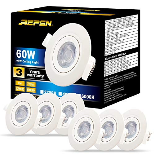 REPSN® Foco Empotrable LED Techo,8W 6000K Blanco Frío 770 Lumen Ángulo Notable...