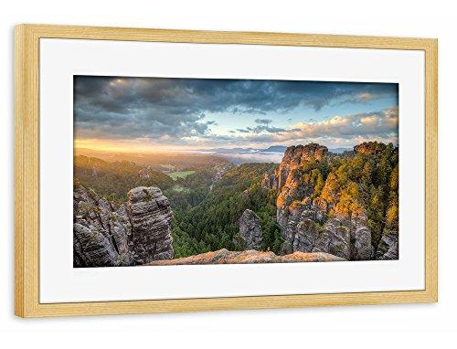 """Preisvergleich Produktbild artboxONE Poster mit Rahmen 30x20 cm Natur Reise """"Sächsische Schweiz"""" bunt Gerahmtes Poster kiefer - Wandbild Natur Reise Kunstdruck von Michael Valjak"""