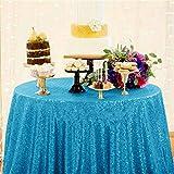 RuiHuang Rose Gold Pailletten Tischdecke Home Hochzeit Event Party Bankett Dekoration Weihnachten Tischdecke Rechteck Blau 80 cm X 275 cm