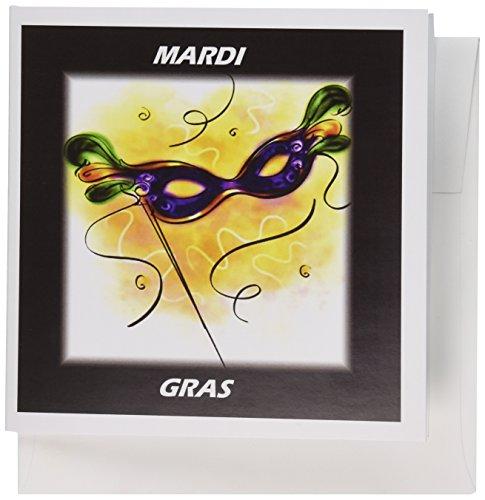 3drose 20,3x 20,3x 0,6cm Mardi Gras Feder Maske Grußkarte, Set 12(GC 39017_ ()