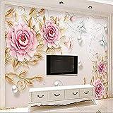 FSKJBZ Personnalisé 3D En Relief Bijoux Pivoine Fleur Papillon Photo Papier Peint Papier Peint Papiers peints Salon Salon Décoration Murale Paysage Floral Papier Peint-250Cmx175Cm @ 200cmx140cm