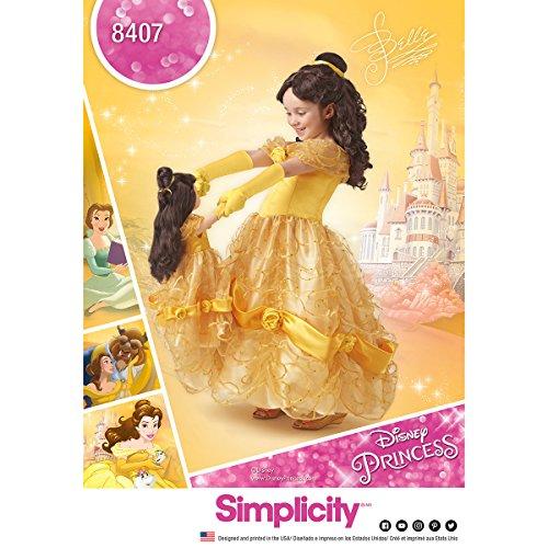 Simplicity Schnittmuster 8407Disney Schönheit und das Biest Kostüm für Kind und 45,7cm Puppe, Papier, weiß, 22x 15x ()