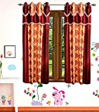 Gaurav Curtains Polyester Multicolor Printed 5x4 Feet Window Curtain (Pack of 2)