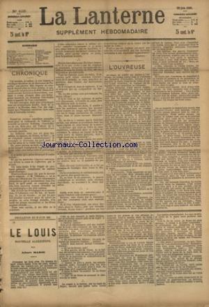 LANTERNE (LA) [No 103] du 20/06/1886 - L'OUVREUSE PAR COPPEE - SOUVENIRS SUR THEODORE BARRIERE PAR FERRY - LA VIEILLE PAR TISSOT - MICHEL-EUGENE CHEVREUIL PAR HALEPRINE - LA SANTE PUBLIQUE PAR MARC - FEUILLETON / LE LOUIS PAR MARIE