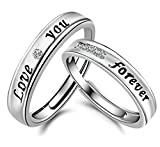 19 Likes 2 Pieces Couple Rings 'Love You Forever' Adjustable Rings For Couple