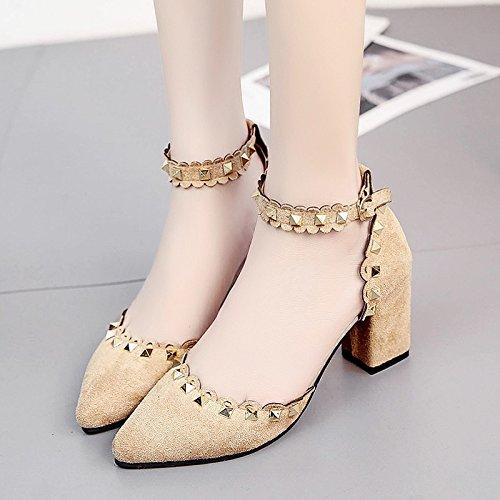 Lgk & fa estate sandali Baotou sandali da donna estate Nails tacco a punta scarpe da donna Apricot