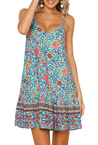 Ärmellos Rüschen V-ausschnitt Kleid (QEHEPA Damen Sommerkleid mit V-Ausschnitt, ärmellos, Spaghettiträger, Rüschen, A-Linie, Strandkleid Gr. L, grün)