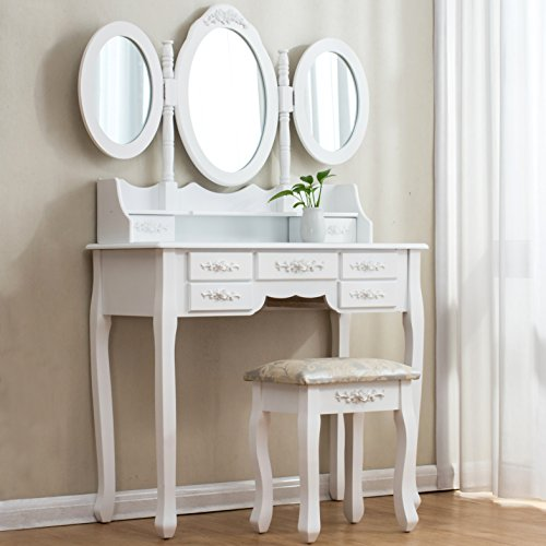 Cherry Tree Furniture Large White 7-Drawer Vanity Makeup Dressing Table Set with 3 Mirrors and Jacquard Cushioned Stool