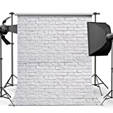 Damier 6ft(W) x 9ft(H) Weißer Backsteinmauer Hintergründe Fotografie Ziegelstein Boden Foto Studio Hintergrund