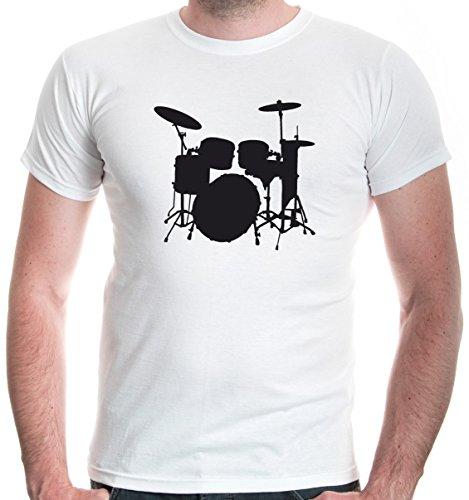 buXsbaum Herren T-Shirt Schlagzeug   Schlagzeuger Drums Trommler Musik Instrument   L, Weiß