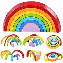 Lewo De madera Arco iris Apilado Juego Aprendizaje Juguete Geometría Bloques de construcción Juguetes educativos para niños bebé