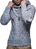 LEIF NELSON Herren-Strickpullover | Strick-Pulli mit Kapuze | Moderner Woll-Pullover Langarm Sweatshirt mit Knöpfen