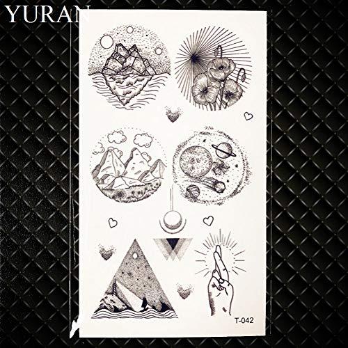 GHHCG Schwarz Mond Plante Tattoo Aufkleber Frauen Körper Arm Kunst Malerei Temporäre Decor Tattoo Männer Hals Flash Tatto Ohr, Gt042 (Für Das Ohr Olivenöl)