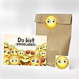 Set mit 16 x Einladungskarten, Party-Tüten und runden Aufklebern zum Kinder-Geburtstag - Motiv Emoji/Smiley - Geburtstags-Einladungen Karten mit Geschenk-Tüten (Kreuzbodenbeutel) und Sticker in einem Paket