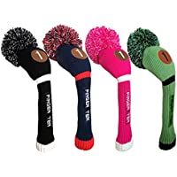 Finger Ten Pom Pom - Casco de golf de madera para conductor, híbrido, color negro, azul y rosa, negro/blanco, Hybrid-5
