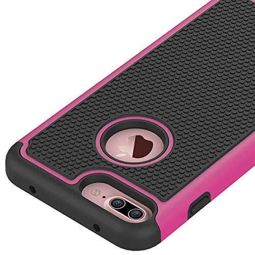 iphone 7 Plus Hülle, CMID Handy Hard Case Cover Hybrid Dual Layer Rugged Silikon Schutzhülle für iphone 7 Plus (Grau) Hot Pink