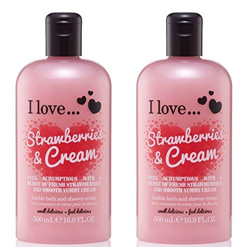 I love... Strawberries & Cream Bubble für Badewanne und Dusche Creme 500ml Pack Qty 2