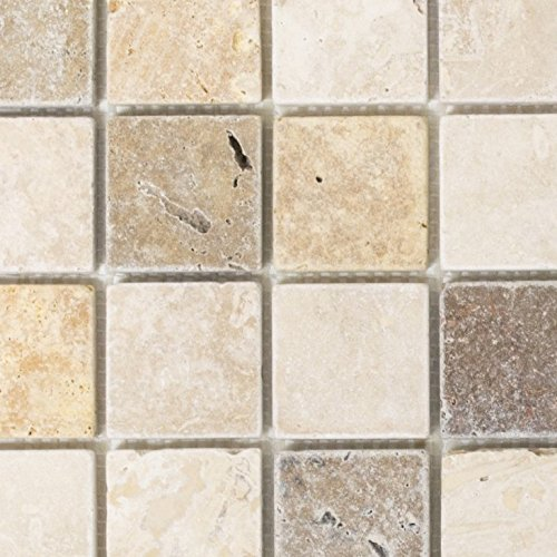 Mosaik Fliese Travertin Naturstein beige braun Travertin tumbled für BODEN WAND BAD WC DUSCHE KÜCHE FLIESENSPIEGEL THEKENVERKLEIDUNG BADEWANNENVERKLEIDUNG Mosaikmatte Mosaikplatte -