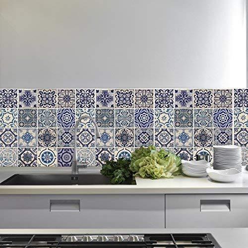 wallflexi Wand Aufkleber Spanisch blau Fliesen Art Wand Wandmalereien abnehmbarer selbstklebend Aufkleber Office Home Dekoration, mehrfarbig, 4Stück -