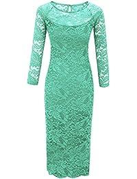 Laeticia Dreams Damen Kleid aus Spitze Langarm Wadenlang S M L XL XXL XXXL