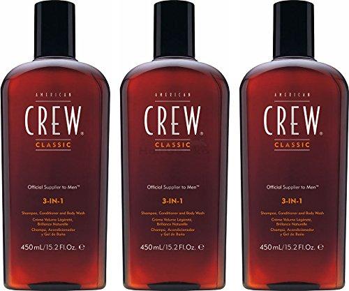 American Crew 3 in 1 Shampoo, Conditioner & Bodywash 3x 250ml = 750ml