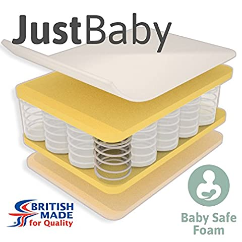 Little Mattress Company® - JustBaby Pocket Sprung Cot Bed Mattress - 139cm x 69cm x 10cm - Including FREE Luxurious Soft Poly-Cotton