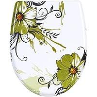 WOLTU 2511-1 WC Sitz Toilettensitz Toilettendeckel mit Absenkautomatik, Duroplast, Softclose, Fast Fix/Schnellbefestigung Blumen Grasgrün