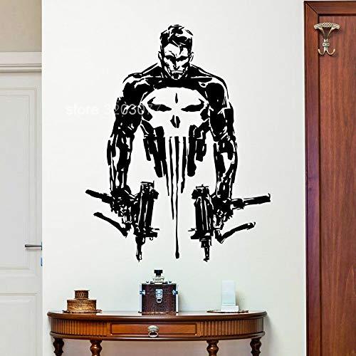 JXLK 57x73 cm Punisher Wandtattoo Superhelden Schädel Guns Vinyl Wandaufkleber Kunst Wohnkultur Wohnzimmer Jungen Schlafzimmer Dekoration Wandbild