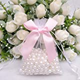 True-Ying Sacchetto di cordoncino Sacchetto di organza denso coreano a un solo strato per borse da sposa 20 pz