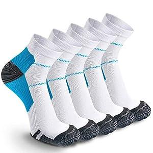 wscmd 5 Paar Männer- und Frauensport-Laufsocken Damen ohne Fuß Plantarfasziitis Arch Support Leichte Kompressions-Viertelsocken