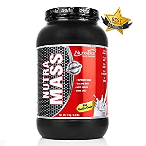 Nutramass High Protein Mass Gainer With Complex Carbs (Added Vitamins & Minerals) | The Best Muscle Gainers, Supplements For Sportsmen and Bodybuilders (Men & Women) | RICH VANILLA CREAM FLAVOUR , 1 kg / 2.20 Lbs / 30 Scoops