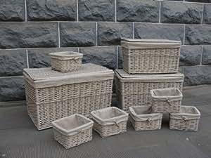 Set 3 malles coffres de rangement et 6 paniers corbeilles osier en bois peint clair, housse amovible lin et coton.