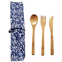 Oyria Reusable Natural Bamboo Travel Cutlery Set, Portable Spoon Fork Knife Camping Tableware Set with Cloth Bag Kitchen Cooking Tools Eco Friendly Flatware Set