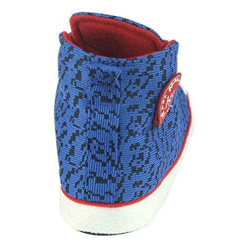 Home Slipper Damen lässig Sneaker Hausschuhe Pantoffeln antirutsch Sportschuh für Zuhause mit vielfältig Muster Blau