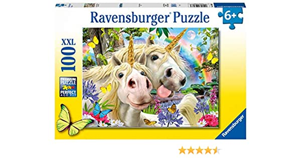 Be Happy XXL 100pc Jigsaw Puzzle NEW Ravensburger 12898 Unicorn Selfies Worry