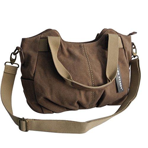 Lässige Canvas Tasche von Jennifer Jones - Damentasche , Shopper , Umhängetasche , Vintage Handtasche , Schultertasche - Baumwollstoff Segelstoff ( Braun ) - präsentiert von ZMOKA® Braun