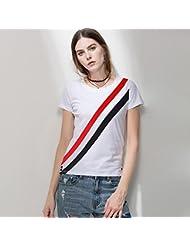 Heart&M Cuello redondo de manga corta de las mujeres del remiendo ocasional de las rayas diagonales de algodón mercerizado camiseta tops . white . s
