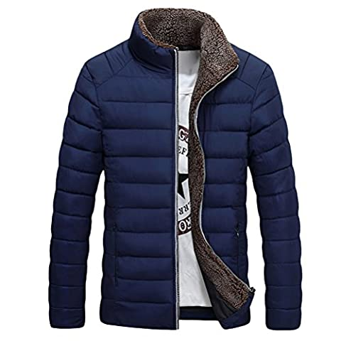 Zhhlaixing Mens Pour des hommes Winter Thick Padded Outdoor Warm Jacket Veste Fleece Lined Collar Windbreaker Outerwear Coat Halloween Gift