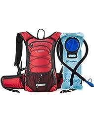 miracol mochila de hidratación, 2L agua vejiga–Aislamiento térmico Pack y tubo de flujo líquido mantiene fresco hasta 4horas–Múltiples compartimiento de almacenamiento–mejor para senderismo, running, ciclismo y más, Rojo