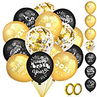 ‏‪HOWAF 42 pcs Gold and Black Balloons Set Including 40 pcs Latex Balloons and 2 Pcs Ribbons for Happy New Years Eve Party Supplies 2021‬‏
