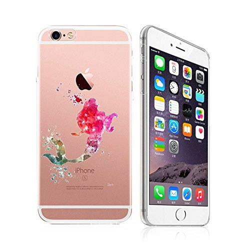iPhone 6Plus/6S Plus, Deco Fairy Art Paint Splash Ultra Slim Transluzent Silikon Transparent Schutzhülle Gel Cover für Apple, Pink Lady in Ocean Cover Pink Splash
